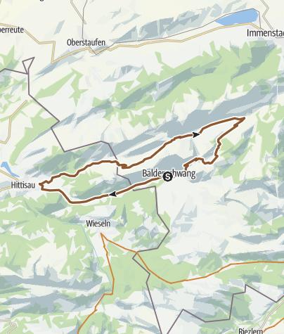 Karte / Radtour ab Balderschwang: Lecknertal - Scheidewang - Höllritzer Alpe
