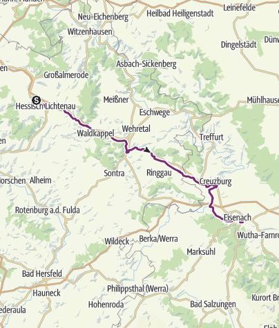 Karte / Schleifenroute DE Hessisch-Lichtenau - Eisenach Etappe 47