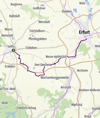 Karte / Schleifenroute DE Gotha - Erfurt Etappe 49