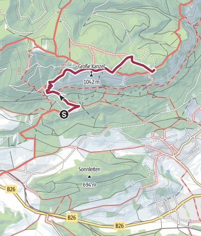 Karte / Wanderung auf die Große Kanzel (von Pension Seiser)