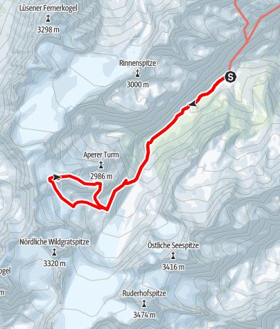 Karte / Vorderer Wilder Turm (3177m) von der Franz Senn Hütte