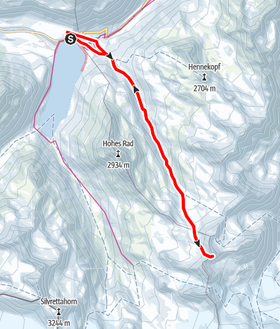 Karte / Skitour Rauhkopfsattel auf der Silvretta-Bielerhöhe