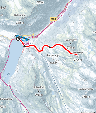 Karte / Skitour zum Hennekopf