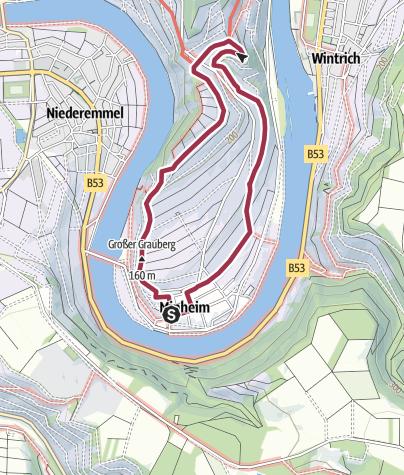 Karte / Sonneninselrundweg über dem Moselort Minheim