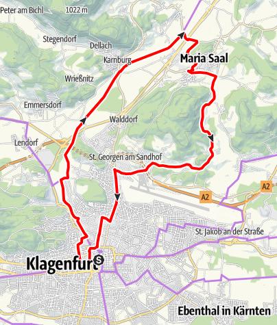 Karte / Durch die Zeit - Schauplätze der Geschichte im Norden von Klagenfurt