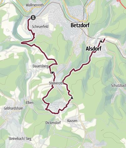 Karte / Natursteig Sieg 12. Etappe Scheuerfeld-Alsdorf