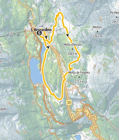 Map / MTB route Pian Cales - San Bernardino