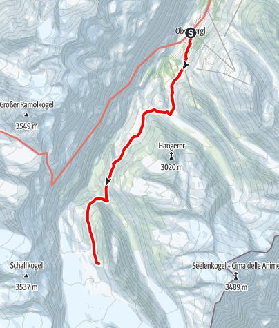 Karte / Langtalereckhütte und Hochwildehaus von Obergurgl (Normaler Hüttenzustieg)