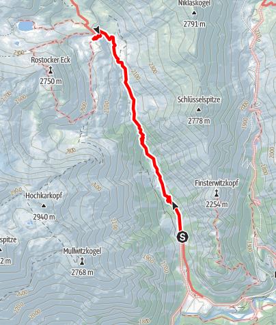 Karte / Venediger Höhenweg / 1. Etappe - Anstieg zur Essener Rostocker Hütte