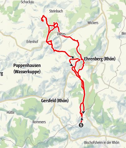Karte / Von der Bergbund Hütte zur Milseburg