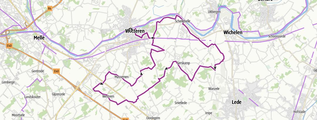地图 / De Rozenroute KP; Wetteren; 34km