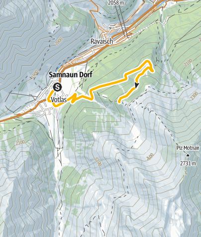 Map / Samnaun Dorf – Motta Saltuorn – Val Motnaida