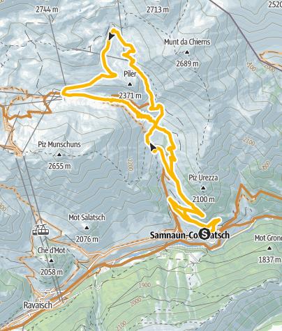 Karte / Rundtour zur Alp Trida und Alp Bella
