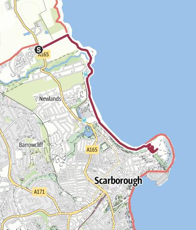 Map / Campsite to Scarborough castle