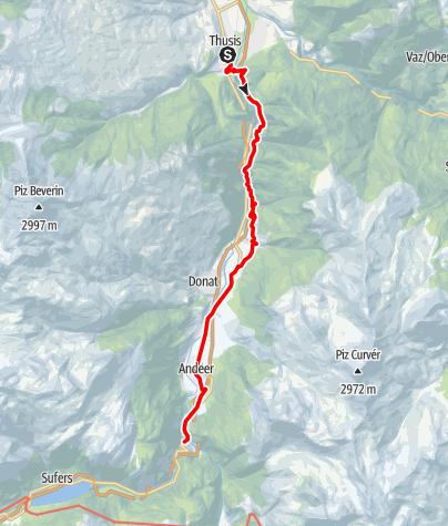 Map / Walserweg - Etappe 1: Thusis - Rofflaschlucht