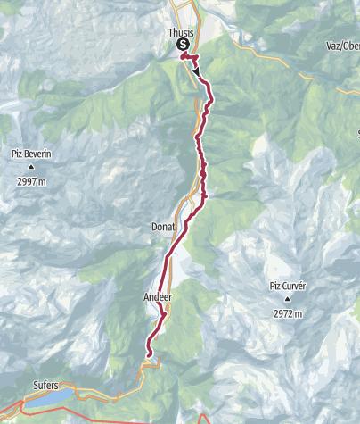 Karte / Walserweg - Etappe 1: Thusis - Rofflaschlucht