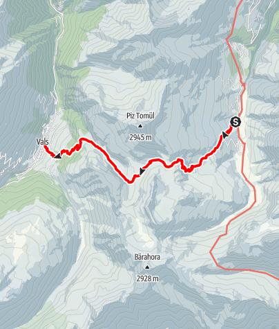 Map / Walserweg - Etappe 3: Safiental (Turrahus) - Vals