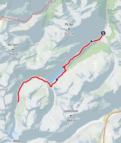 Map / Walserweg - Etappe 4: Vals - Läntahütte