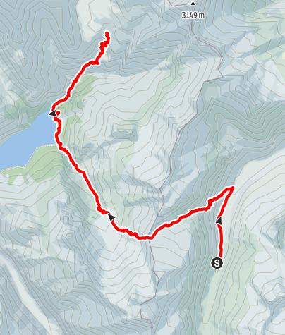 Karte / Walserweg - Etappe 5: Läntahütte - Capanna Motterascio