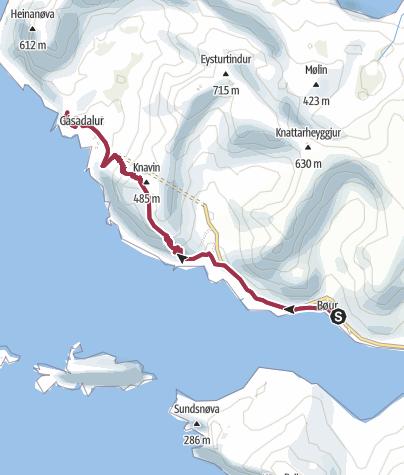 Karte / Von Bøur nach Gásadalur auf den Färöer