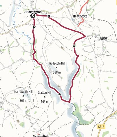 Map / Route, Hartington - Beresforddale and Biggindale