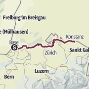 Mapa / ViaRhenana: die Hochrheinroute von Basel nach Kreuzlingen