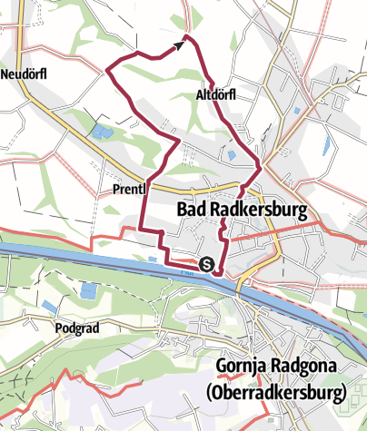 Map / Antenne Flusslandschaft Siedlungsgebiet, Bad Radkersburg