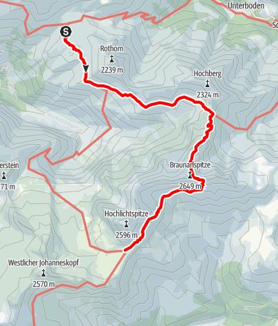 Karte / Braunarlspitze als Übergang zu Göppinger Hütte