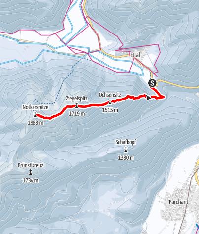 Karte / Schneeschuhwanderung auf die Notkarspitze