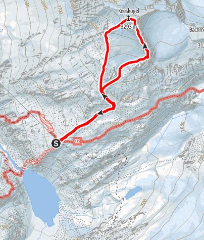 Karte / Keeskogel (3291 m) - Südgrat