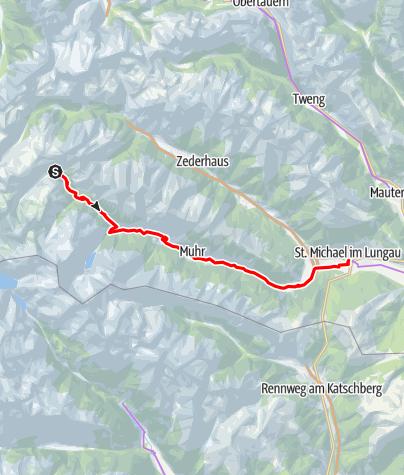 Karte / Etappe 01 Murradweg Sticklerhütte - Muhr im Lungau
