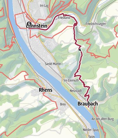 Karte / Rheinsteig Etappe 13: Von Lahnstein nach Braubach