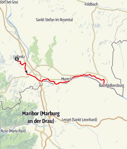 Karte / Etappe 07 Murradweg Leibnitz - Bad Radkersburg