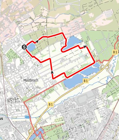 Karte / Spazierwanderung Paderborn: Drei-Seen-Weg bei Schloß Neuhaus