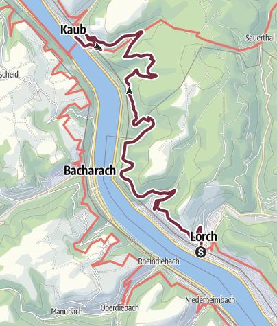 Map / Rheinsteig Stage 6: Lorch - Kaub (South - North)
