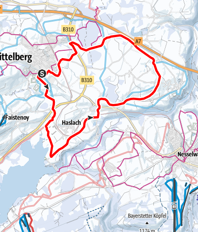Karte / Loipe 5 - Über Maria Rain und Haslach