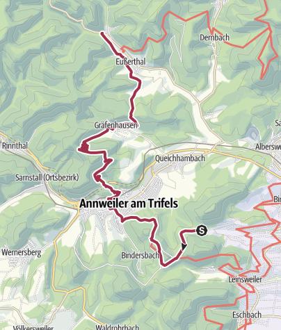 Karte / Von Platz Nr. 3 in Leinsweiler zum Platz Nr. 5 nach Eußerthal
