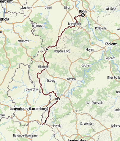 Mapa / Jakobsweg Bonn-Trier-Schengen