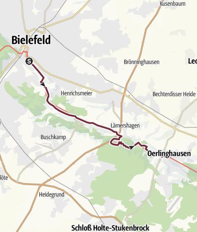 Kaart / Hermannshöhen - Etappe 07 van Bielefeld naar Oerlinghausen