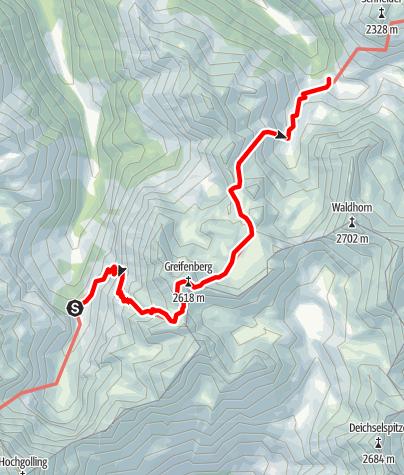 Karte / Etappe 06 Vom Gletscher zum Wein Südroute Gollinghütte - Preintalerhütte