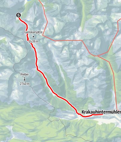 Karte / Etappe 08 Vom Gletscher zum Wein Südroute Putzentalalm - Krakau