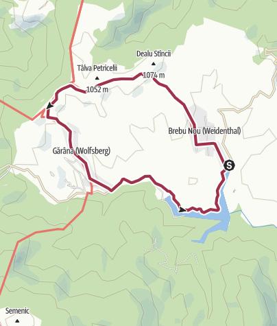 Karte / Wanderung von Weidenthal (Brebu Nou) nach Wolfsberg (Gărâna) und zurück