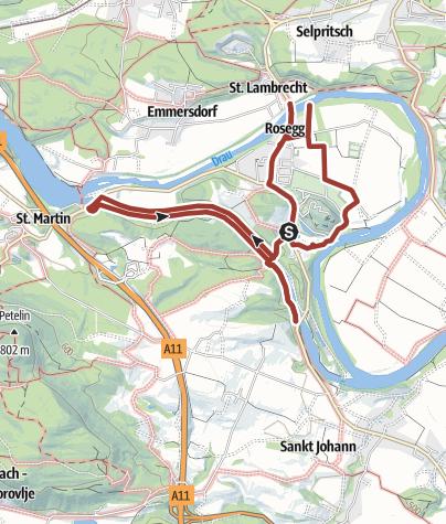 Karte / Landart Wanderweg Rosegg