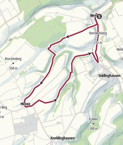 Karte / Wandern in und um Weine im Bürener Land