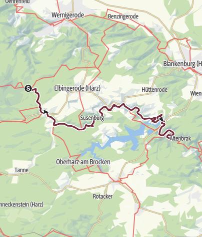 Hartă / Harzer-Hexen-Stieg - 4. Etappe Nordvariante - von Drei Annen Hohne über Rübeland nach Altenbrak