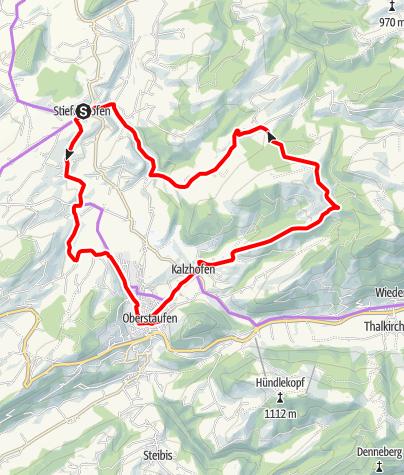 Karte / Um die Kalzhofener Höhe (von Stiefenhofen)