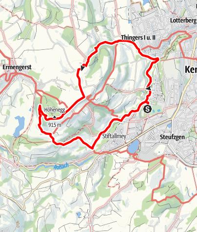 Karte / Kempten Wandertour: Weitblick - Bergpanorama-Wanderung