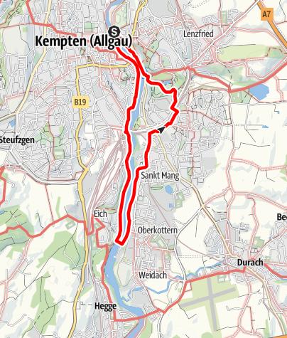 Karte / Kempten Wandertour: Entlang der Iller