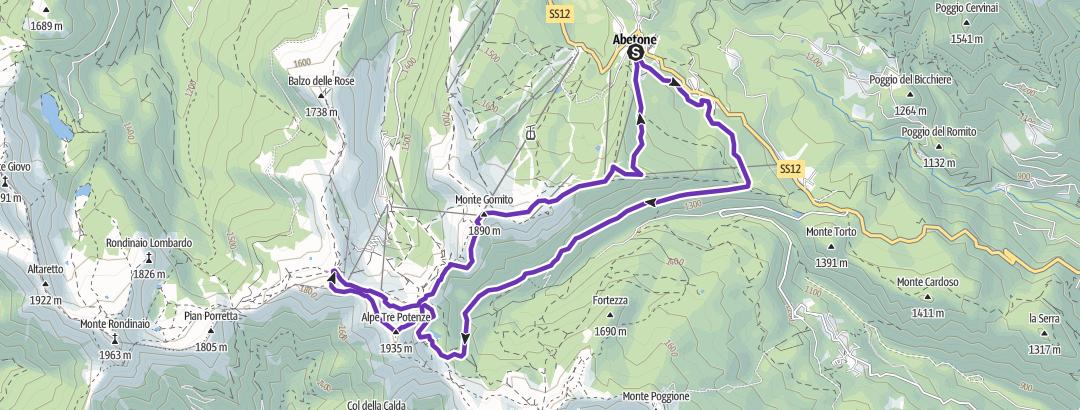 Mapa / abetone lago nero alpe tre potenze monte gomito