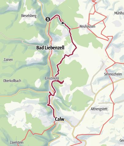 Karte / Durch das idyllische Monbachtal und die romantische Wolfsschlucht zur Fachwerkstadt Calw